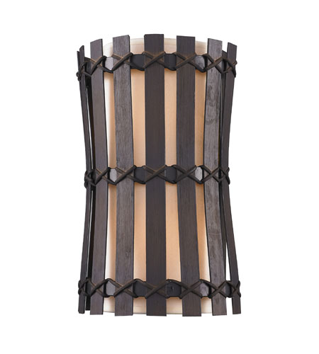 Golden Lighting Havana 2 Light Wall Sconce in Corsini Bronze with Natural Linen Shade 9004-WSC-COB photo