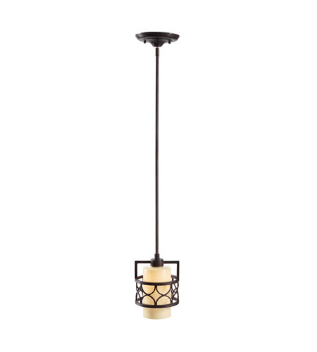 Golden Lighting Cercado 1 Light Mini Pendant in Corsini Bronze 9018-M1L-COB photo
