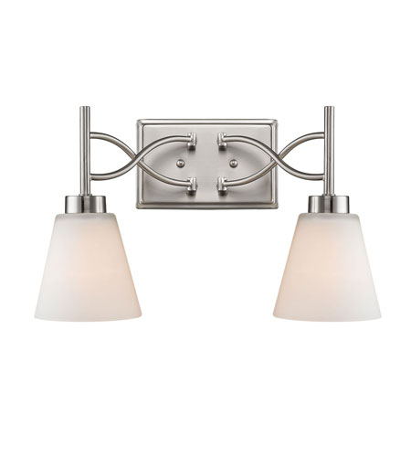 Golden Lighting Taylor 2 Light Bath Fixture in Pewter with Opal Shade 9106-BA2-PW photo