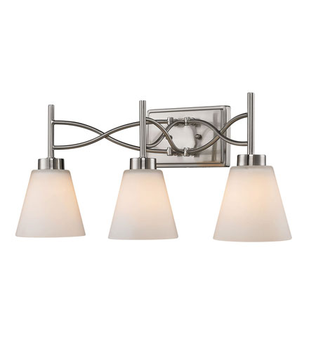Golden Lighting Taylor 3 Light Bath Fixture in Pewter with Opal Shade 9106-BA3-PW photo