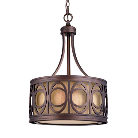 Golden Lighting Aro 3 Light Pendant in Golden Bronze with Alba Shade 9174-3P-GB photo