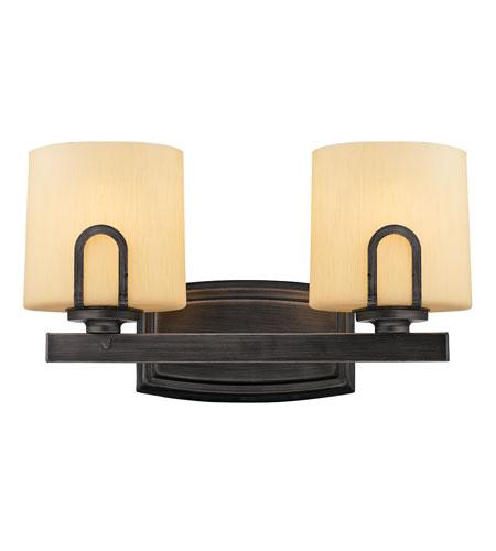 Golden Lighting Presilla 2 Light Bath Fixture in Gunmetal Bronze with Flaxen Glass 9363-BA2-GMT photo
