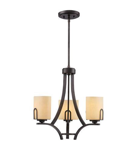 Golden Lighting Presilla 3 Light Mini Chandelier in Gunmetal Bronze with Flaxen Glass 9363-M3-GMT photo