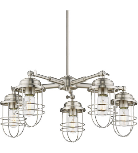 Golden Lighting 9808 5 Pw Seaport Light 24 Inch Pewter Chandelier Ceiling