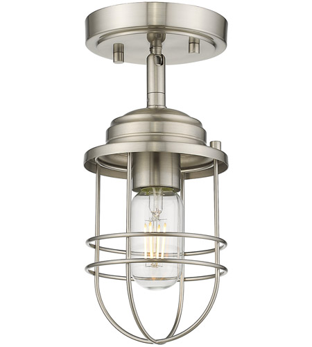 Seaport Pw 1 Light 5 Inch Pewter Semi Flush Pendant Ceiling Convertible To