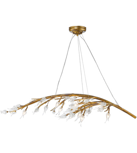 Golden Lighting 9942 12 Gl Aiyana Light 54 Inch Gold Leaf Chandelier Ceiling