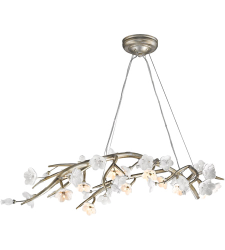 Golden Lighting Two Two Sl Aiyana  Inch Silver Leaf Chandelier Ceiling Light In Opal