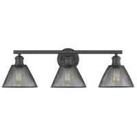 Golden Lighting 0304-BA3-BLK Carver 3 Light 28 inch Black Bath Fixture Wall Light