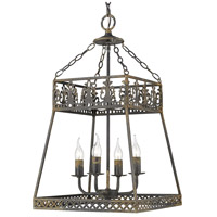Golden Lighting 0817-4P ABI Tudor 4 Light 16 inch Antique Black Iron Pendant Ceiling Light