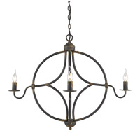 Golden Lighting 0830-4-ABI Caspian 4 Light 33 inch Antique Black Iron Caged Foyer Light Ceiling Light