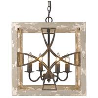 Golden Lighting 0847-4P ABI Morgan 4 Light 18 inch Antique Black Iron Foyer Chandelier Ceiling Light Caged