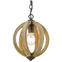 Golden Lighting 0876-1P ABI Naima 1 Light 10 inch Antique Black Iron Pendant Ceiling Light