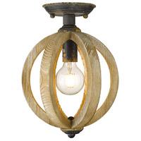 Golden Lighting 0876-SF-ABI Naima 1 Light 10 inch Antique Black Iron Semi-flush Ceiling Light