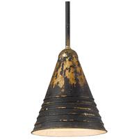 Golden Lighting 0882-S ABI Hardy 1 Light 9 inch Antique Black Iron Pendant Ceiling Light