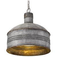 Golden Lighting 0889-L AGV-GV Shiloh 1 Light 15 inch Aged Galvanized Steel Pendant Ceiling Light
