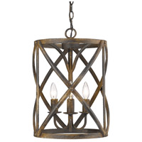 Golden Lighting 0890-3P-ABI Alcott 3 Light 13 inch Antique Black Iron Caged Foyer Light Ceiling Light