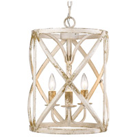 Golden Lighting 0890-3P-AI Alcott 3 Light 13 inch Antique Ivory Caged Foyer Light Ceiling Light
