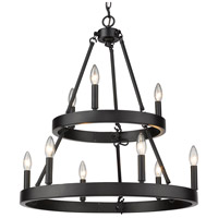 Golden Lighting 1017-36 BLK Alastair 9 Light 24 inch Matte Black Chandelier Ceiling Light