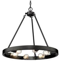 Golden Lighting 1019-6 BLK Castile 24 inch Matte Black Chandelier Ceiling Light