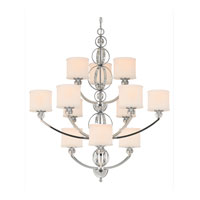 Golden Lighting Cerchi 12 Light Chandelier in Chrome with Etched Opal Glass 1030-363-CH