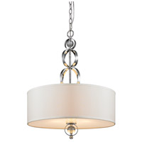 Golden Lighting Cerchi 3 Light Pendant in Chrome with Opal Satin Shade 1030-3P-CH photo thumbnail