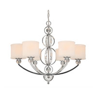 Golden Lighting Cerchi 6 Light Chandelier in Chrome with Etched Opal Glass 1030-6-CH