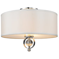 Golden Lighting Cerchi 2 Light Flush Mount in Chrome with Opal Satin Shade 1030-FM-CH
