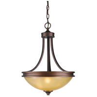 Golden Lighting Hidalgo 3 Light Bowl Pendant in Sovereign Bronze with Regal Glass 1051-3P-SBZ