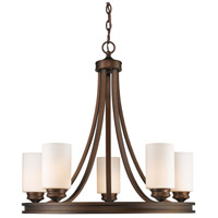 Hidalgo 5 Light 28 inch Sovereign Bronze Chandelier Ceiling Light in Opal Glass