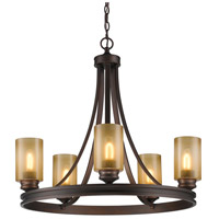 Golden Lighting Hidalgo 5 Light Chandelier in Sovereign Bronze with Regal Glass 1051-5-SBZ
