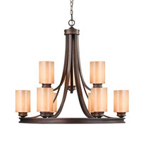 Golden Lighting 1051-9-SBZ Hidalgo 9 Light 32 inch Sovereign Bronze Chandelier Ceiling Light in Regal Glass, 2 Tier alternative photo thumbnail