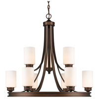 Golden Lighting 1051-9-SBZ-OP Hidalgo 9 Light 32 inch Sovereign Bronze Chandelier Ceiling Light in Opal Glass, 2 Tier