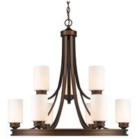 Golden Lighting 1051-9-SBZ-OP Hidalgo 9 Light 32 inch Sovereign Bronze Chandelier Ceiling Light in Opal Glass 2 Tier