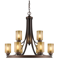 Hidalgo 9 Light 32 inch Sovereign Bronze Chandelier Ceiling Light in Regal Glass, 2 Tier