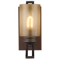 Golden Lighting Hidalgo 1 Light Wall Sconce in Sovereign Bronze with Regal Glass 1051-BA1-SBZ