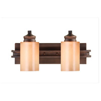 Golden Lighting Hidalgo 2 Light Bath Fixture in Sovereign Bronze with Regal Glass 1051-BA2-SBZ