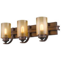 Golden Lighting Hidalgo 3 Light Bath Fixture in Sovereign Bronze with Regal Glass 1051-BA3-SBZ