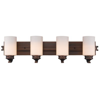 Hidalgo 4 Light 33 inch Sovereign Bronze Bath Vanity Wall Light in Opal Glass