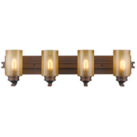 Golden Lighting Hidalgo 4 Light Bath Fixture in Sovereign Bronze with Regal Glass 1051-BA4-SBZ