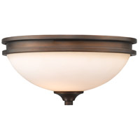 Hidalgo 2 Light 13 inch Sovereign Bronze Flush Mount Ceiling Light in Opal Glass