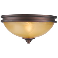 Golden Lighting Hidalgo 2 Light Flush Mount in Sovereign Bronze with Regal Glass 1051-FM-SBZ