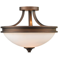 Golden Lighting 1051-SF-SBZ-OP Hidalgo 2 Light 15 inch Sovereign Bronze Semi-Flush Mount Ceiling Light in Opal Glass