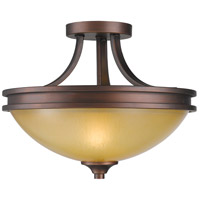 Hidalgo 2 Light 15 inch Sovereign Bronze Semi-Flush Mount Ceiling Light in Regal Glass
