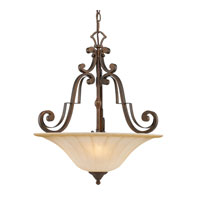 Golden Lighting Pemberly Court 3 Light Bowl Pendant in Russet Bronze with Swirled Ivory Glass 1089-3P-RSB