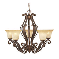 Golden Lighting Pemberly Court 5 Light Chandelier in Russet Bronze with Swirled Ivory Glass 1089-5-RSB