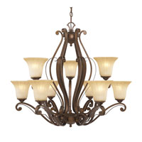 Golden Lighting Pemberly Court 9 Light Chandelier in Russet Bronze with Swirled Ivory Glass 1089-9-RSB