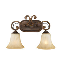 Golden Lighting Pemberly Court 2 Light Bath Fixture in Russet Bronze with Swirled Ivory Glass 1089-BA2-RSB