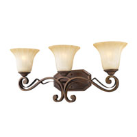 Golden Lighting Pemberly Court 3 Light Bath Fixture in Russet Bronze with Swirled Ivory Glass 1089-BA3-RSB alternative photo thumbnail