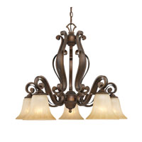 Golden Lighting Pemberly Court 5 Light Chandelier in Russet Bronze with Swirled Ivory Glass 1089-D5-RSB
