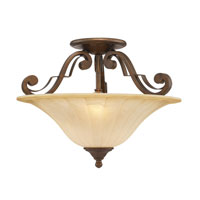 Golden Lighting Pemberly Court 2 Light Convertible Semi-Flush in Russet Bronze with Swirled Ivory Glass 1089-SF-RSB